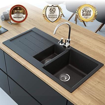 Double Kitchen Sink With Drainboard.Black Kitchen Sink Lavello Decoro 150lt 39 Granite Sink Composite Double Bowl Big Range Of Kitchen Sinks Drop In Top Mount Drainboard Position