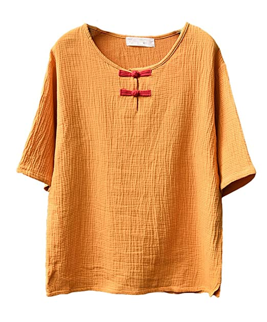 3f147a9a1 Image Unavailable. Image not available for. Color: Soojun Women's Chinese  Frog Button Cotton Linen Blouses Short Sleeve Tops ...