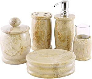 Nature Home Decor 700SB12349GT Sahara Beige Marble 5-Piece Bathroom Accessories Set of Pacific Collection