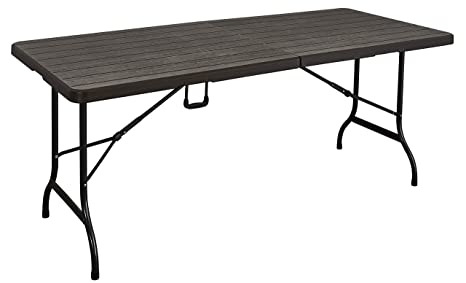 KitGarden - Mesa Plegable Multifuncional Imitación Madera, 180x75x74cm, Marrón, Wood 180