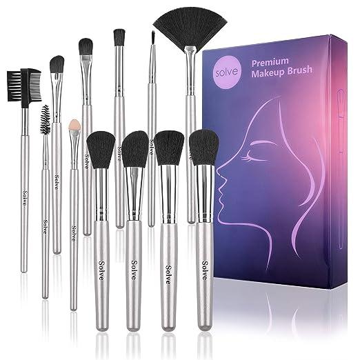 SOLVE 12pcs Makeup Brushes Premium Synthetic Silver Make up Brush Set Foundation Concealer Eye Face Brushes with Box