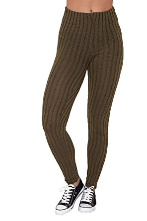 great discount sale online store distinctive design Mymixtrendz® Womens Ladies Warm Thick Ribbed Chunky Cable Knit Full Length  Stretchy Leggings Pants