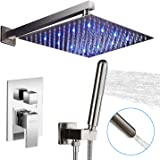 AUKTOPT LED Rainfall Shower Head System with Handheld Wall Mounted Faucet Fixture Combo Set, Chrome (Contain Trim Kit…