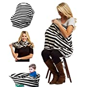 Nursing Breastfeeding Cover Scarf - BEST Use for Baby Car Seat Canopy, Stroller, Shopping Cart, Carseat Covers for Boys and Girls, Sun Shade - Multi-Use Infinity Stretchy Shawl