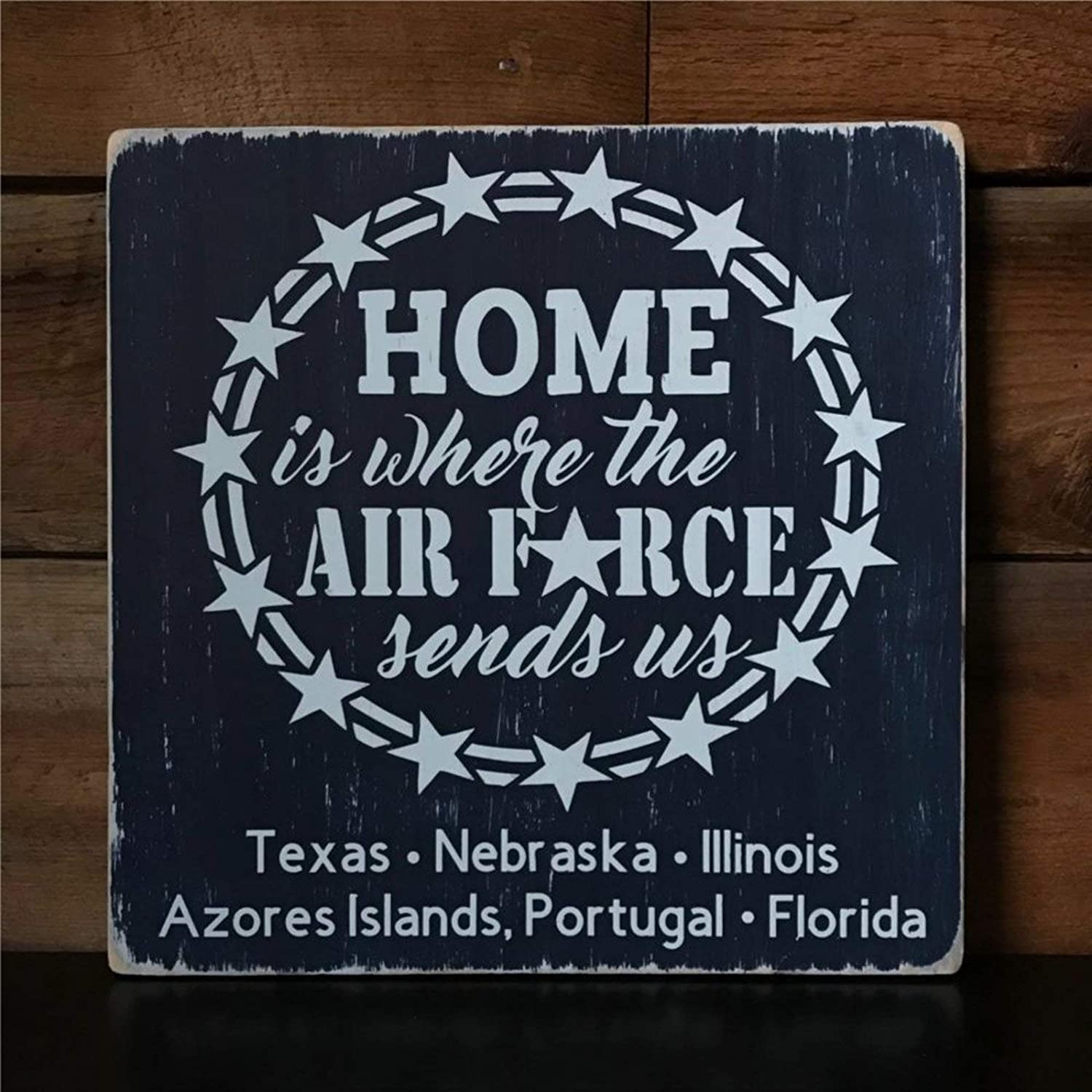 DONL9BAUER is Where The Air Force Sends Us Military Family Wood Sign, Wood Wall Decor Sign, Wooden Plaque Art for Home,Office,Gardens, Coffee Shop,Porch, Gallery Wall.