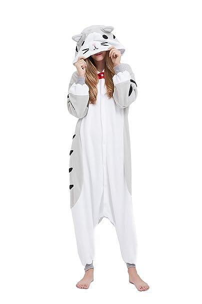 Fandecie Animal Costume Animal Traje Pijamas Pijamas Jumpsuit Gato Mujer Hombre Cosplay Adulto para Carnaval Animal Halloween