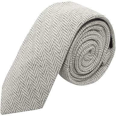 2db9e98e659a Silver Grey & Cream Herringbone Tie, Light Grey: Amazon.co.uk: Clothing