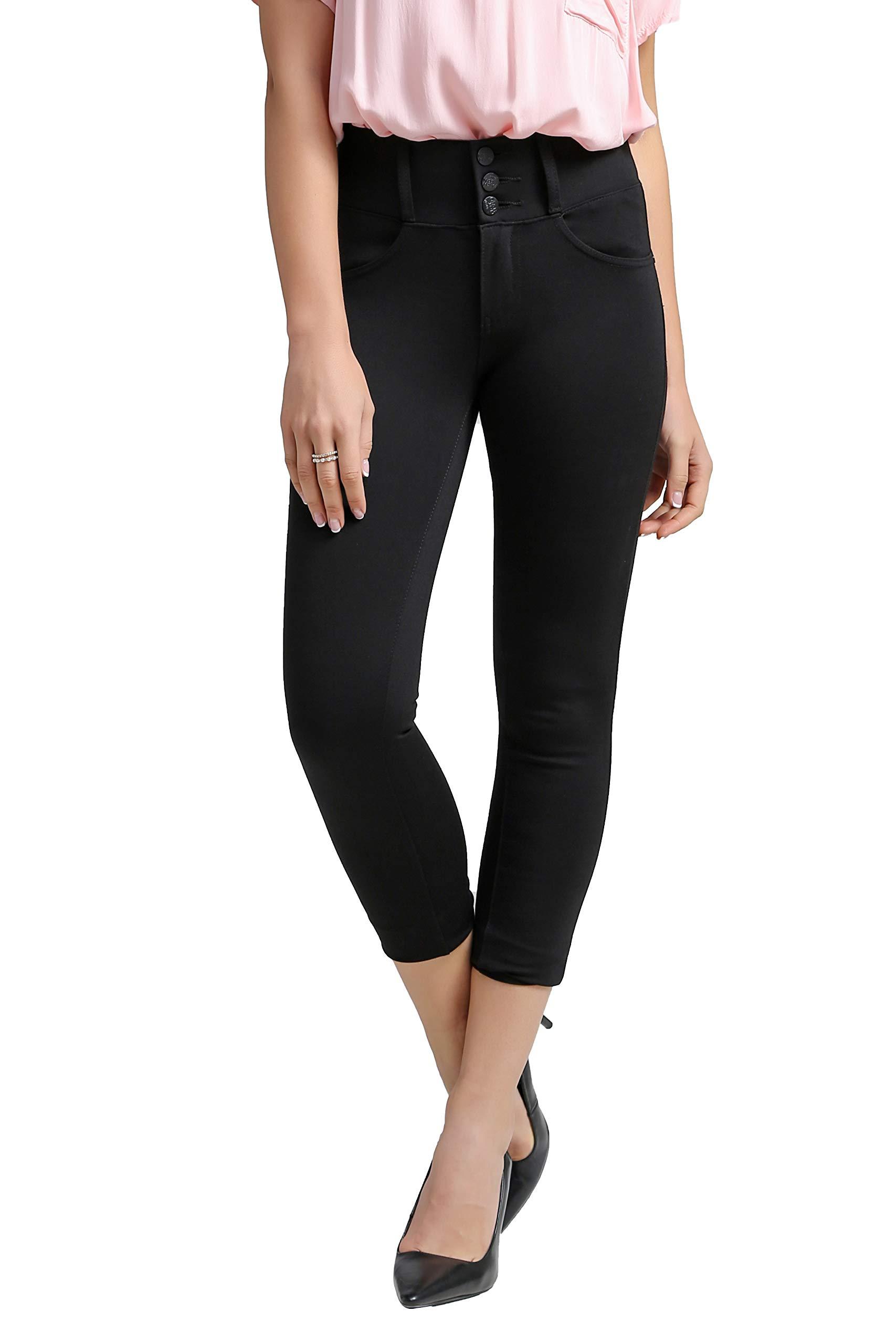 DAS Black Middle Waist Capri Leggings for Women&Skinny-Leg Casual Dailylife Pants&Workout 4 Way Stretch Yoga Capris Leggings