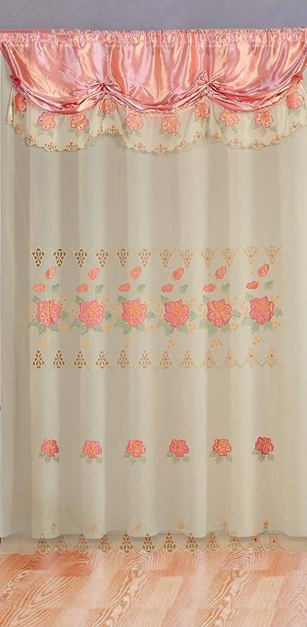 Altotux Rose Broderie de décoration de Chambre Rideau Sheer ...