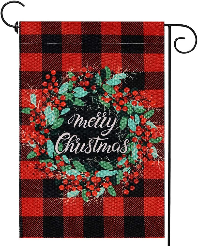 Christmas Wreath Small Garden Flag Vertical Double Sided Winter Merry Christmas Burlap Yard Outdoor Decor 12.5 x 18 Inches