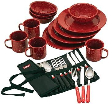 Coleman 24 Piece Enamel Dinnerware Set
