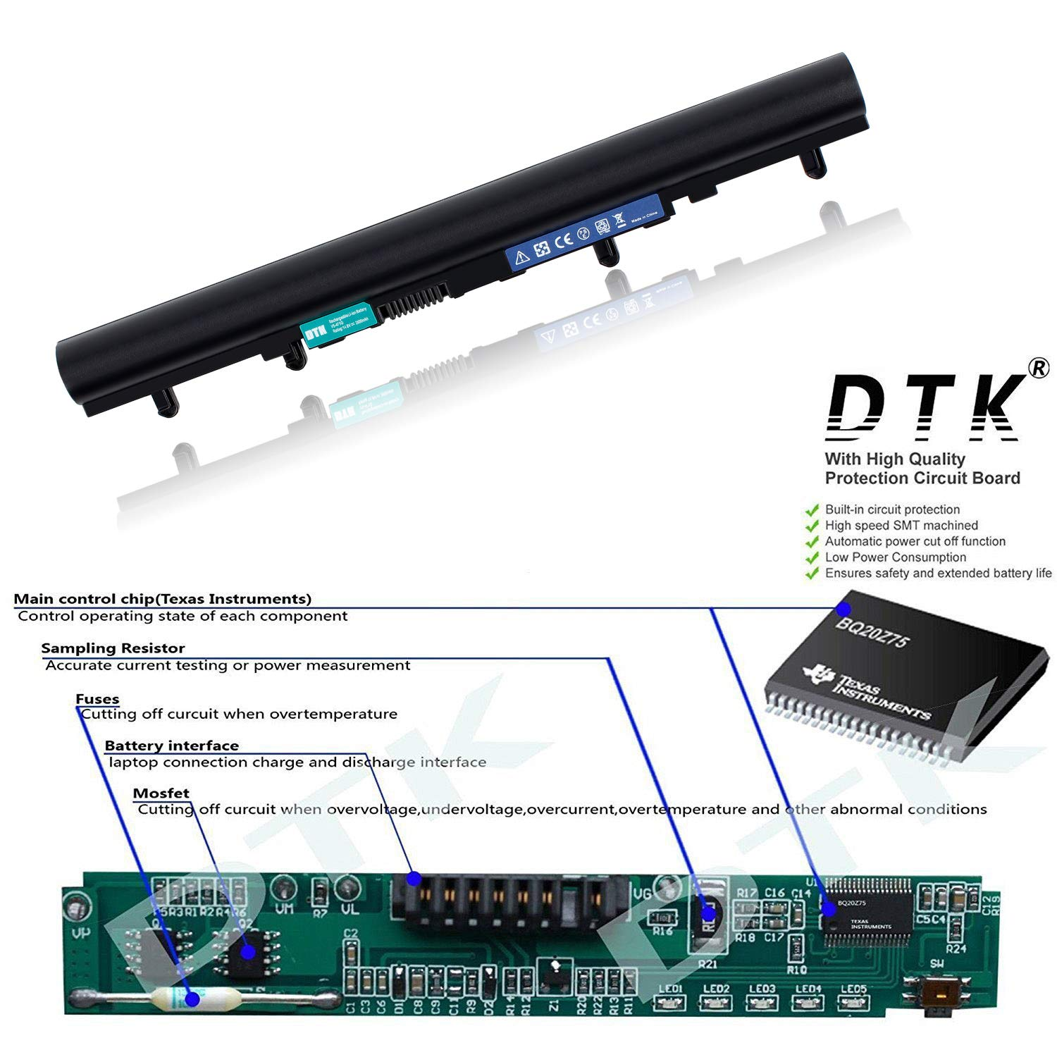 Dtk Laptop Battery Replacement For Acer Aspire V5 471 Batterycharging Discharging Circuit Used In Applications 431 531 571 431g P 471g 531g 571g Al12a32 4icr17 65 148v