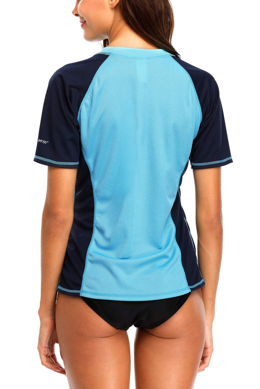 Vegatos Womens UV Swim Shirt Short Sleeve Color Block Rash Guard Swimsuit Blue M by Vegatos (Image #2)