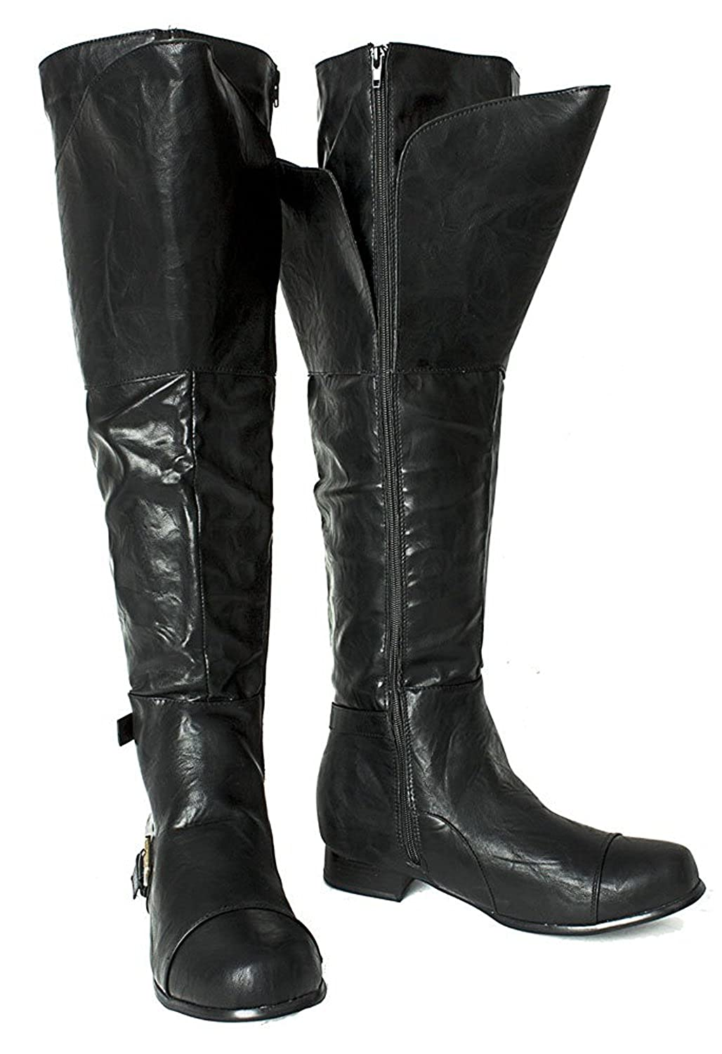 Deluxe Adult Costumes - Men's black Aassassin's Creed, Renaissance, Medieval, Final Fantasy, or Steampunk cosplay Halloween costume tall faux leather boots.