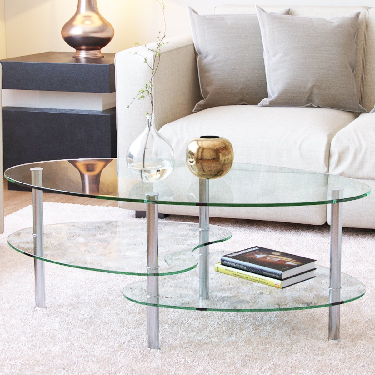 Ryan Rove Ashley - Oval Two Tier Glass Coffee Table - Coffee Tables for  Living Room, Kitchen, Bedroom – Office - Glass Shelves Under Desk Storage -  ...