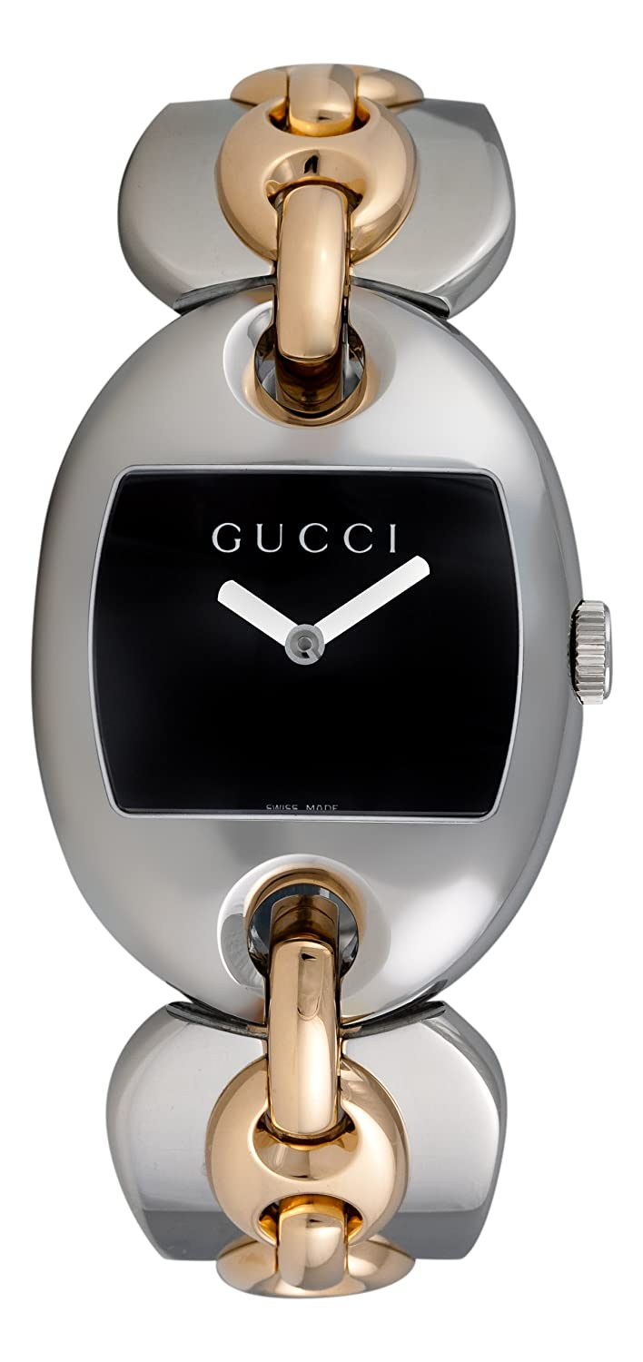 ad5803ff8a8 Amazon.com  GUCCI Women s YA121305 121 Marina Chain Two-Tone Black Dial  Watch  Gucci  Watches