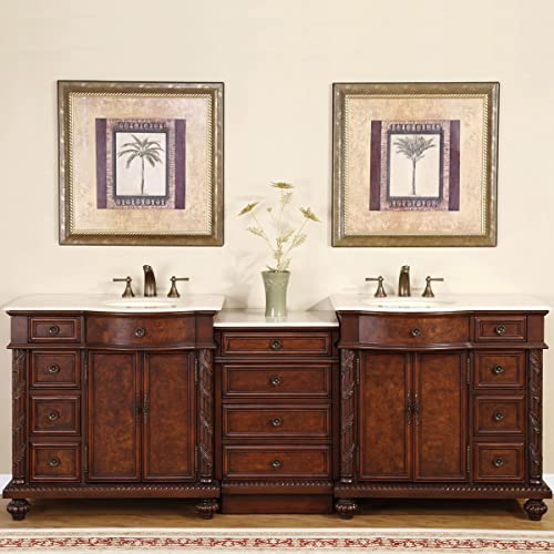 Silkroad Exclusive HYP-0213-CM-UIC-90 Double Sink Bathroom Vanity