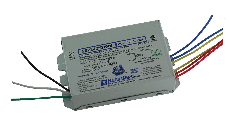 ROBERTSON 3P20156 PSP242TRMVW Fluorescent eBallast for 2 CFTR42W/GX24q CFL Lamps, Program Start, 120-277Vac, 50-60Hz, Normal Ballast Factor, HPF, Robertson Worldwide