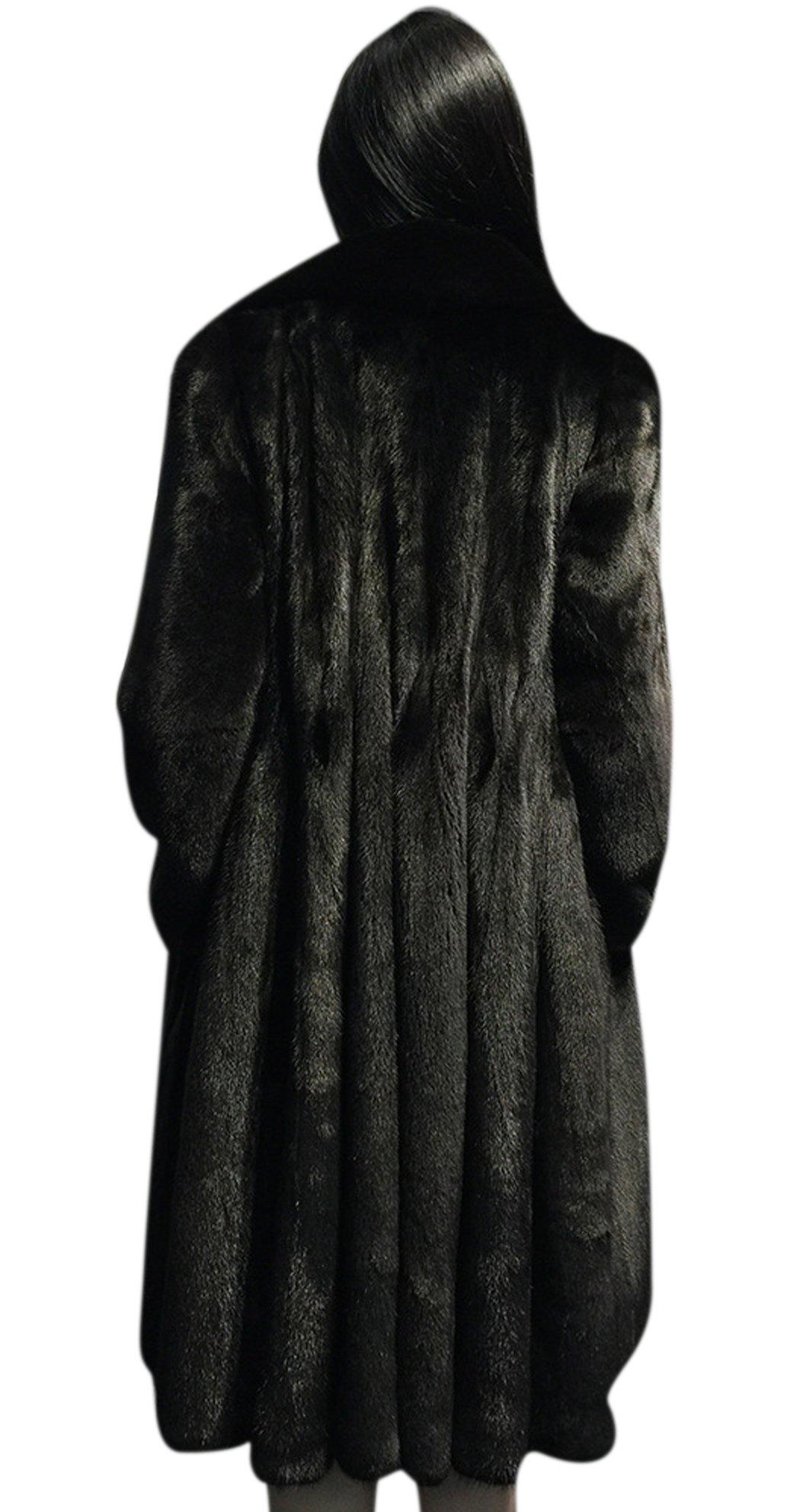AZIZY Women's Black Luxury Faux Mink Fur Slim Lapel Long Sleeve Thick Warm Maxi Coat 2XL by AZIZY (Image #2)