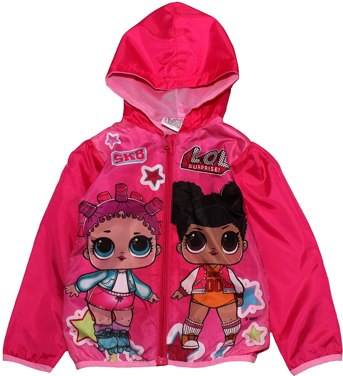 L.O.L Girls Character Themed Hooded Jacket Parka Lightweight Windbreaker Neon Fuchsia Pink 4-10 Years Surprise