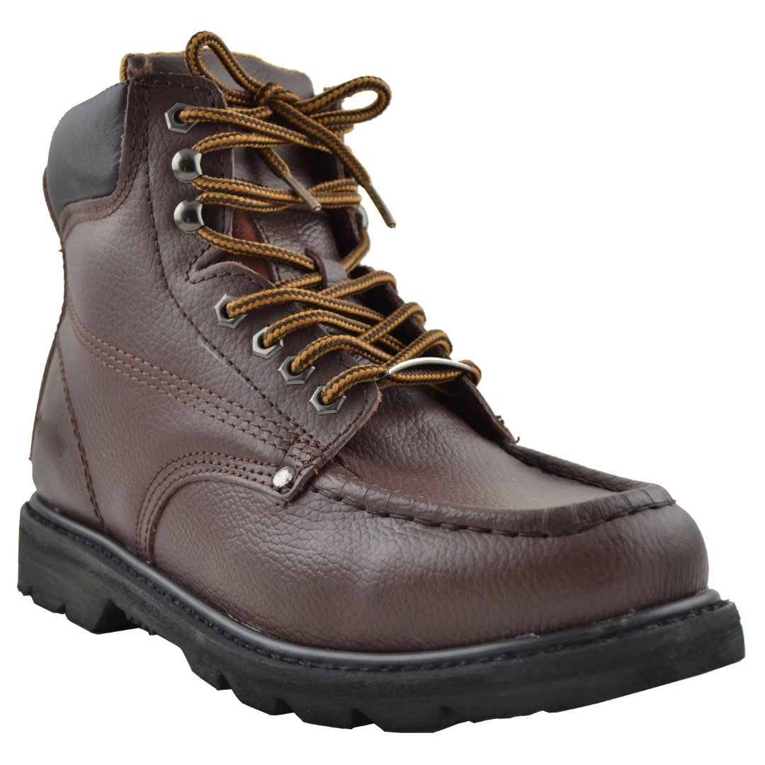 Eagle Men's Boots Oil Resistant Stitched Leather Work Hiking Padded Shoes Brown SZ 7.5