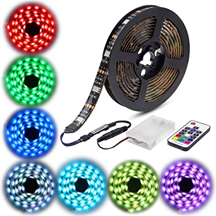 4ff1a6deca93 Amazon.com : Led Strip Lights Battery Powered, abtong RGB Led Strip Rope  Lights Waterproof Led Lights with Remote Control Flexible Led Strip ...