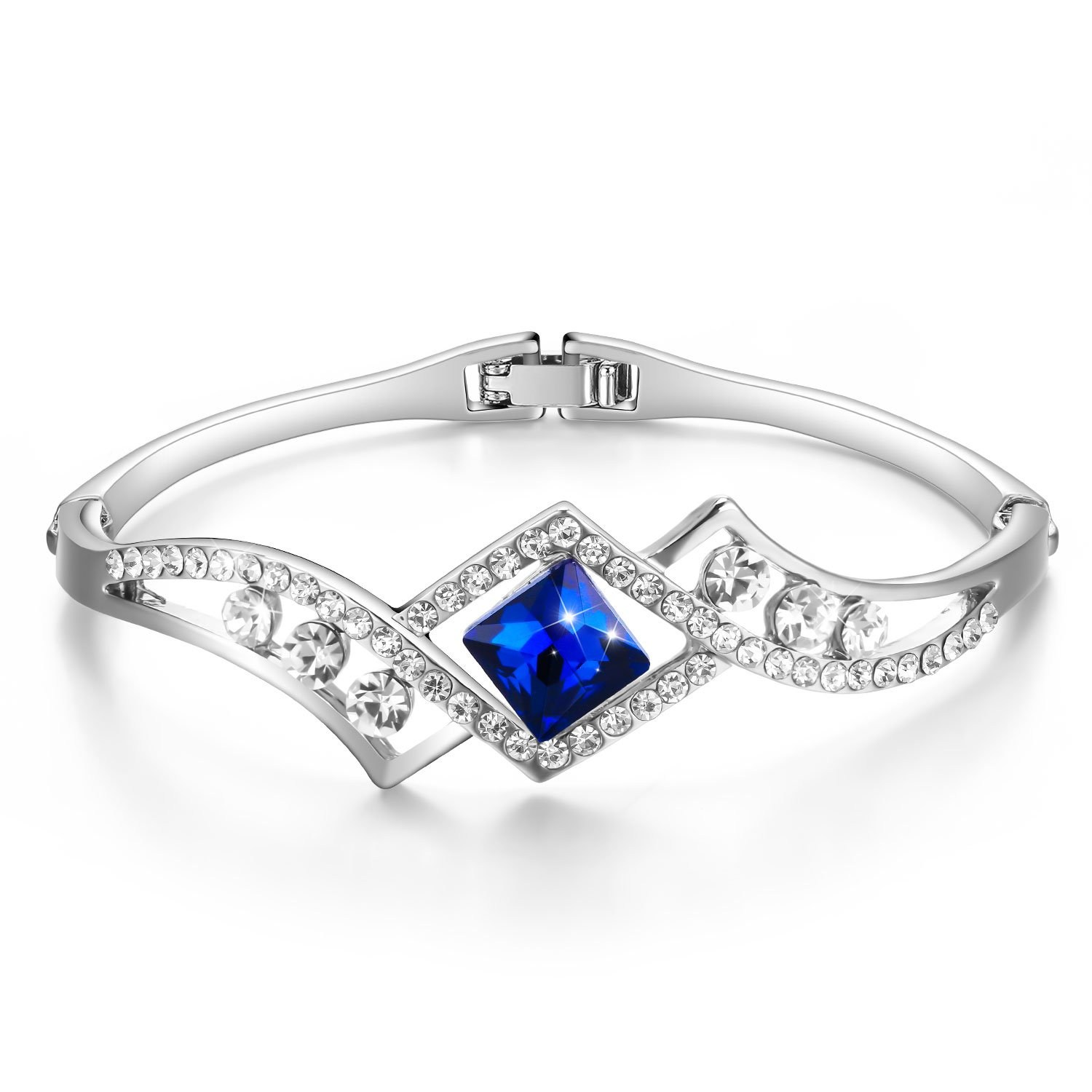 "Menton Ezil ""Eternal Love"" Blue Crystals Bangle Bracelet For Her Graduation Jewelry -Wedding Gift"