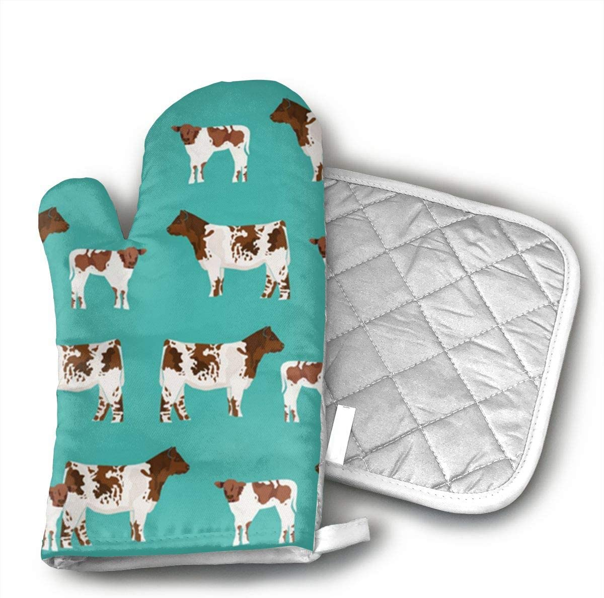 Shorthorn Cattle and Calf Kitchen Oven Mitts,Oven Mitts and Pot Holders,Heat Resistant with Quilted Cotton Lining,Cooking,Baking,Grilling,Barbecue