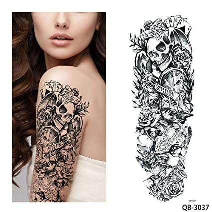 84b4ce94f Image Unavailable. Image not available for. Color: s12 1 Piece Temporary  Tattoo Sticker Nun Girl Pray Design Full Flower Arm ...