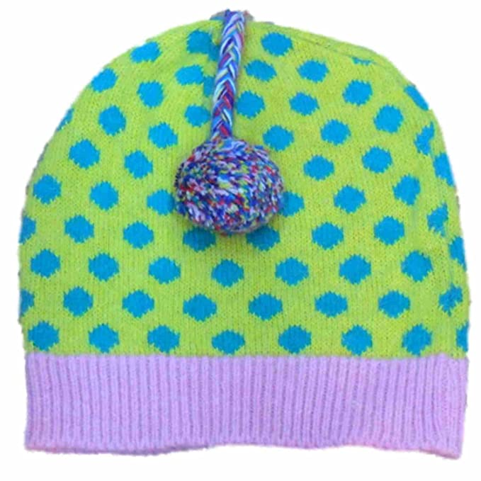 305f8648d4f22 Image Unavailable. Image not available for. Color  Arizona Womens Yellow   Blue  Polka Dot Knit Beanie ...