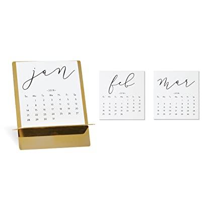 C R Gibson 12 Month Mini Desk Calendar With Metal Stand Pages