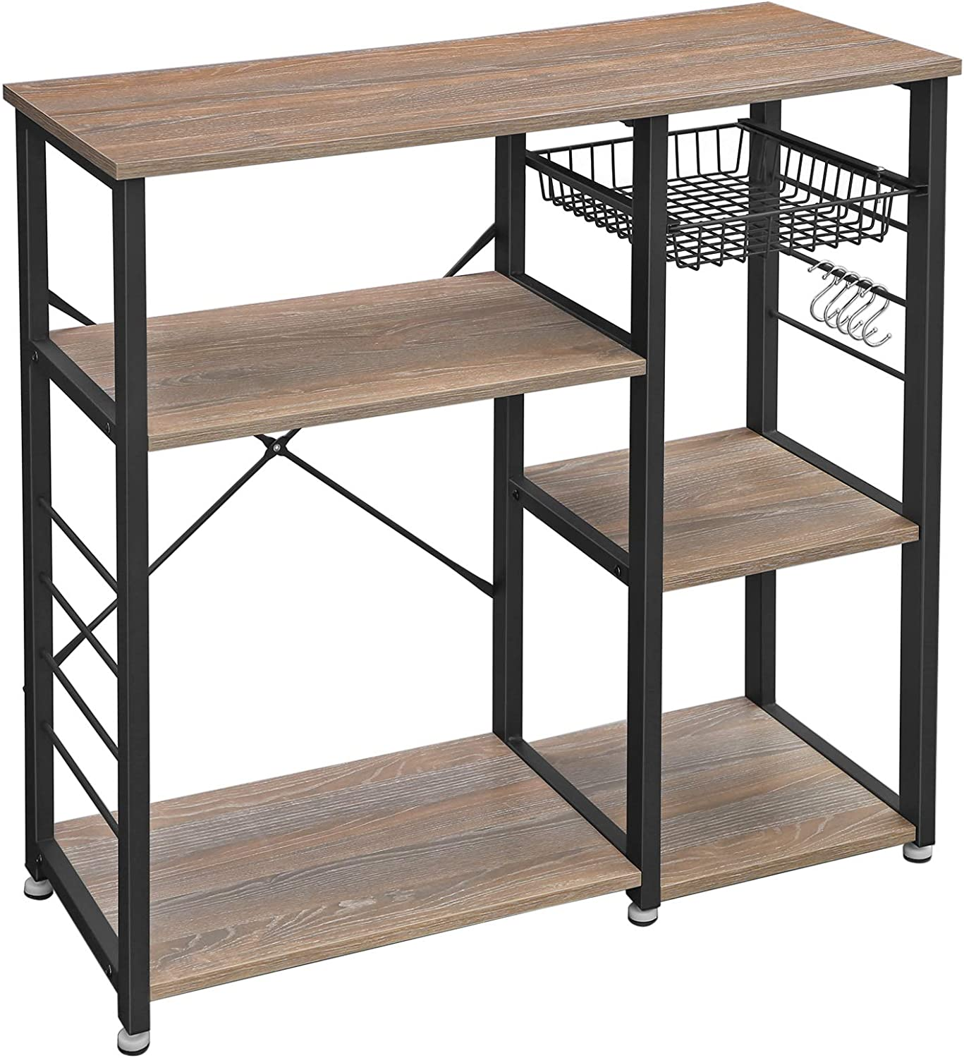 VASAGLE ALINRU Kitchen Baker's Rack, Coffee Bar, Microwave Oven Stand, Industrial, Weathered Sand UKKS90BH