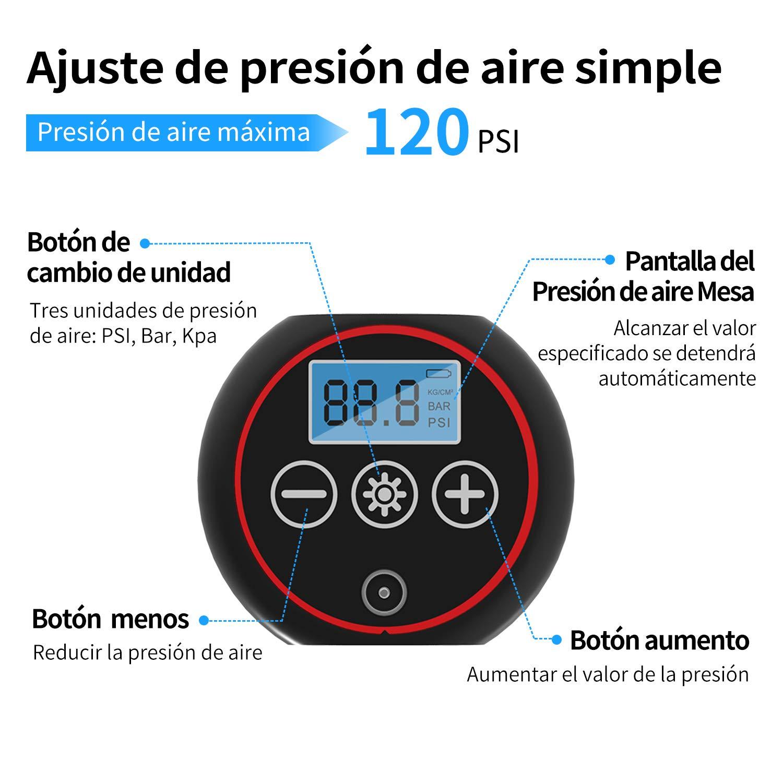SOS Batterie de Lithium Rechargeable de 2200mAh Int/égr/ée Noir Compresseur dAir Portatif Lampe LED HUNDA Compresseur Voiture Gonfleur Electrique Portable 120PSI 12V avec Ecran LCD