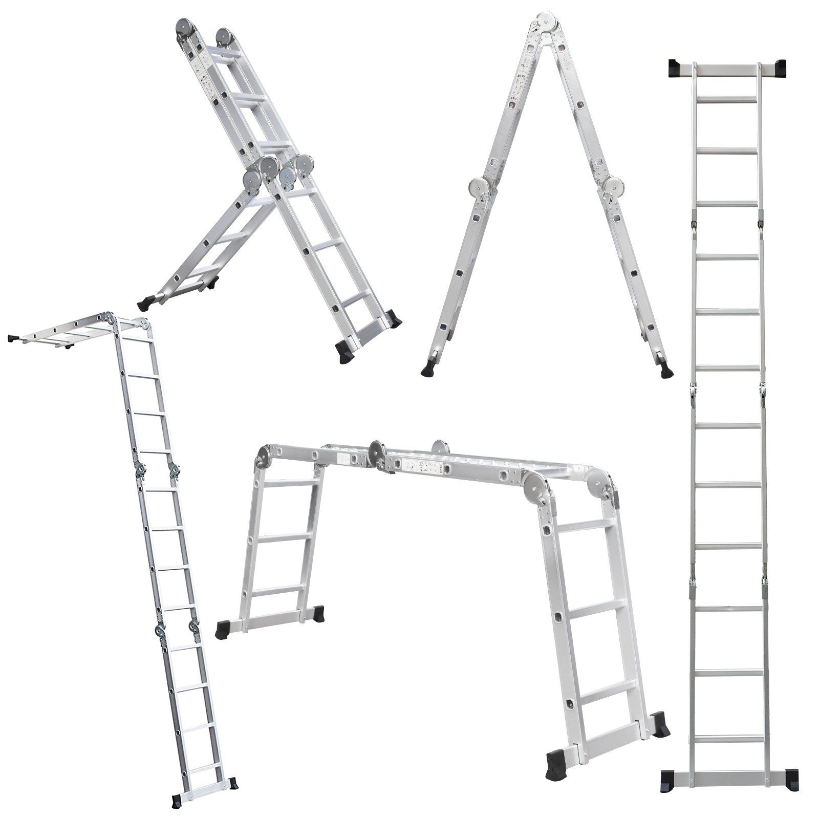 Extension Length 15.5ft 330lb Capacity Aluminum Multi Purpose Extension Ladder 4x3 Steps with Safety Locking Hinges Folding Ladders Also Used as Work Platform