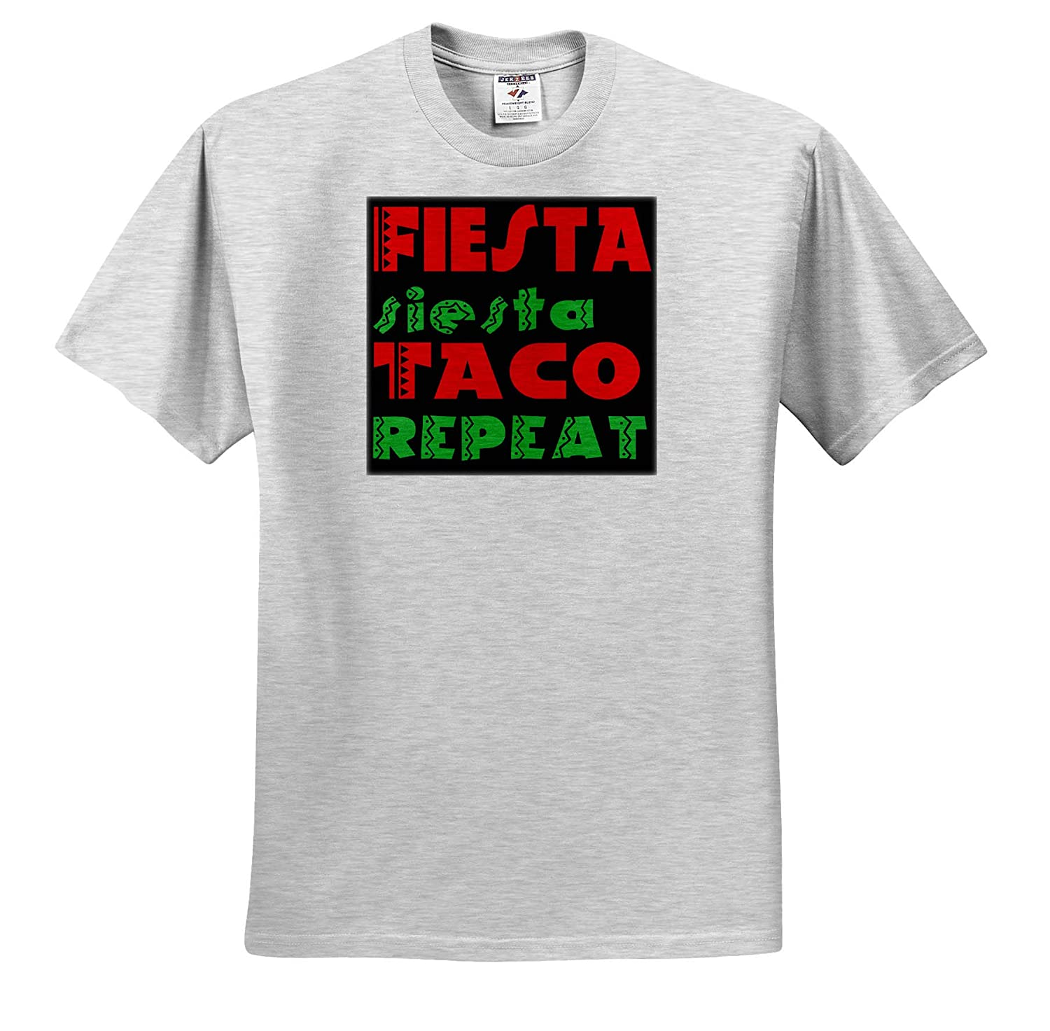 Adult T-Shirt XL Fiesta Siesta Taco Repeat 3dRose Anne Marie Baugh ts/_319285 Quotes and Sayings