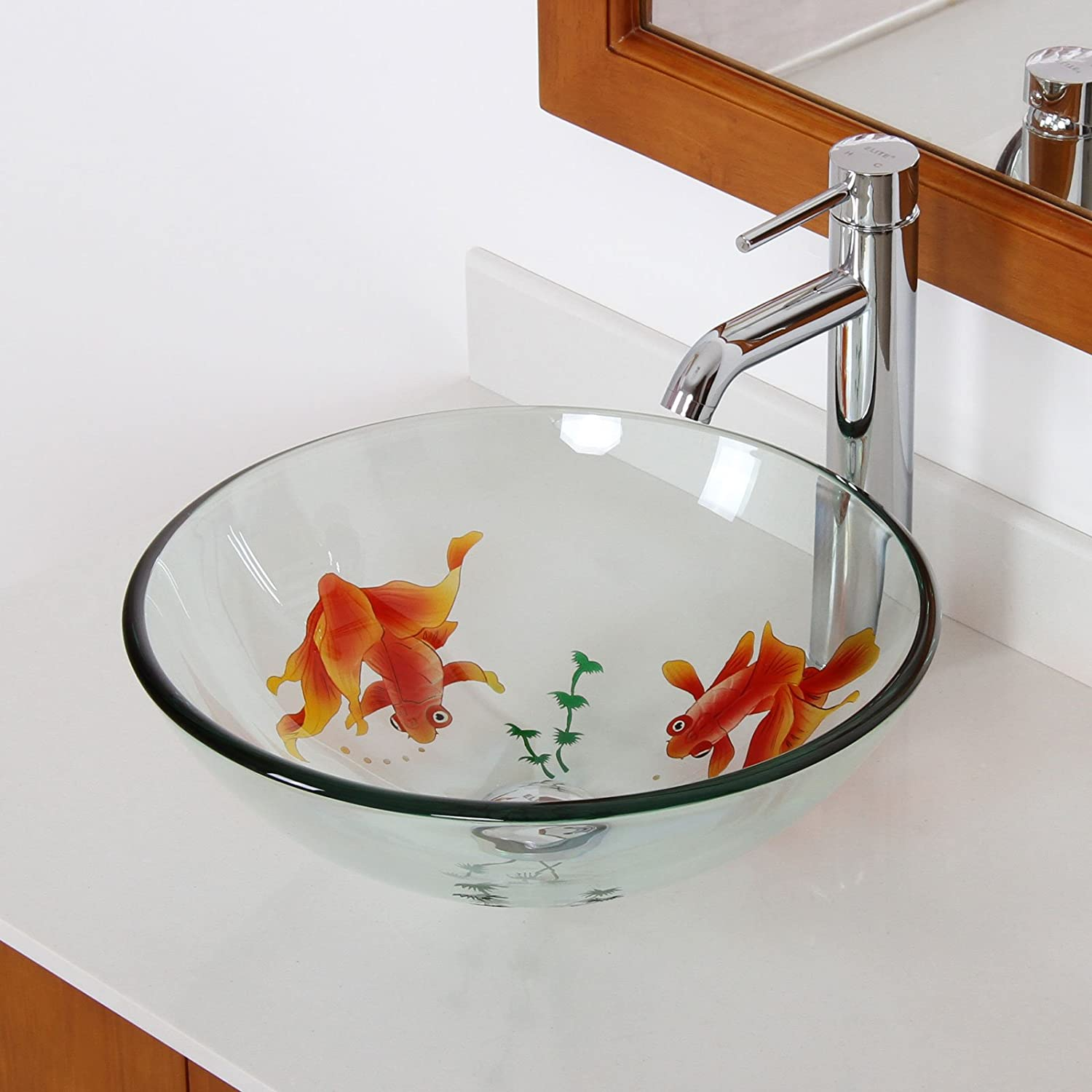 ELITE Bathroom Koi Fish Glass Vessel Sink Chrome Faucet Combo Vanity