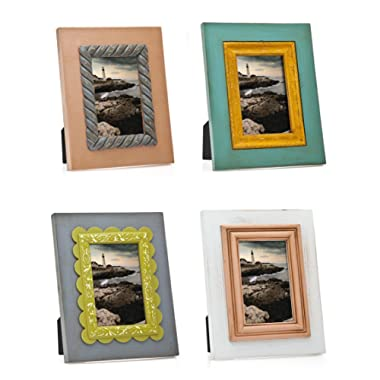 Philip Whitney 4 Assorted Color 5x7 Picture Frames Distressed Wood
