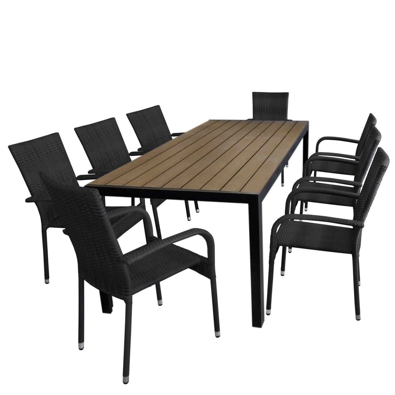 9tlg gartengarnitur aluminium gartentisch tischplatte polywood braun 205x90cm 8x. Black Bedroom Furniture Sets. Home Design Ideas
