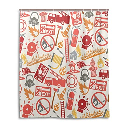 Fire Truck Shower CurtainFirefighting Themed Icons Pattern Emergency Exit Alarm Flames Matches Gas Mask