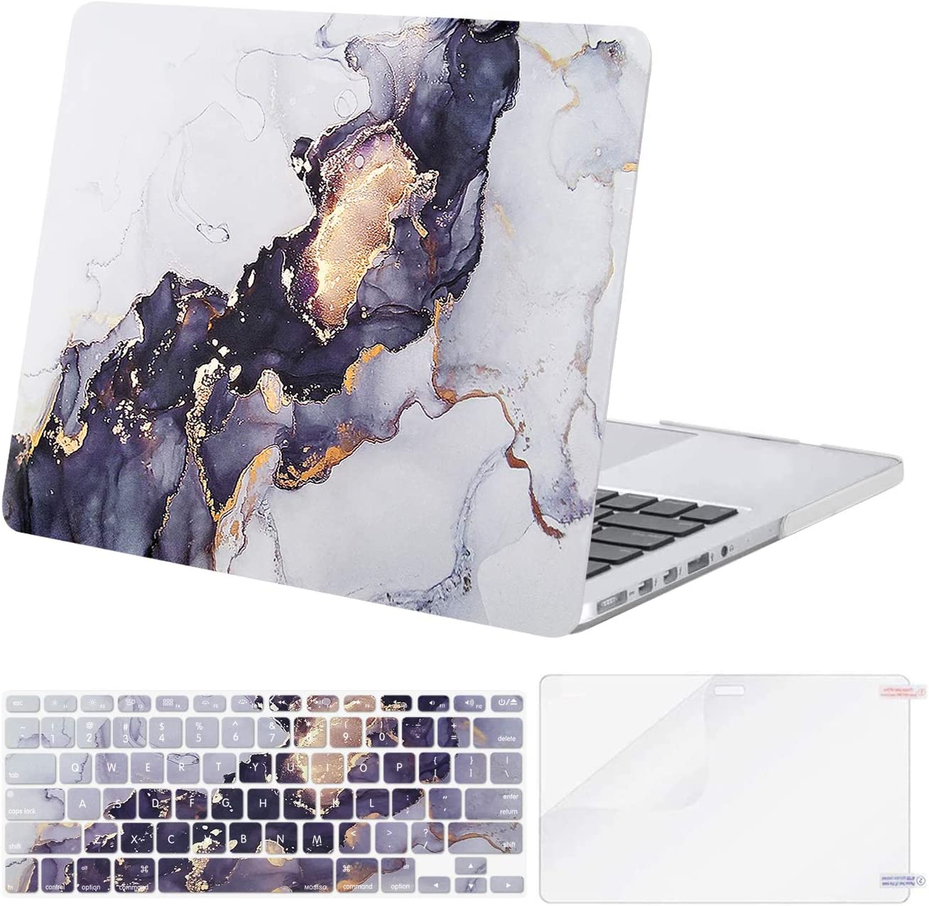 MOSISO Compatible with MacBook Pro 13 inch Case 2015 2014 2013 end 2012 A1502 A1425 with Retina Display, Protective Plastic Pattern Hard Shell Case&Keyboard Cover&Screen Protector, Gray Black Marble