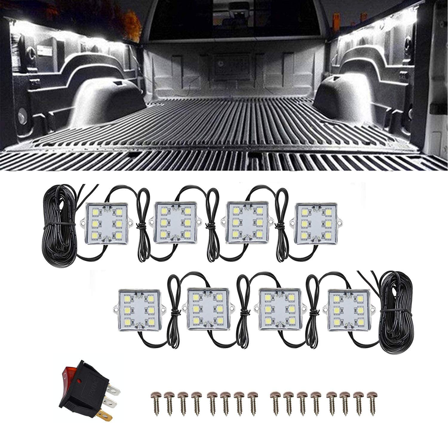 NBWDY 8 PCs 12V Led Truck Bed Light Kit,48 LEDs Cargo Truck Pickup Bed, Off Road Under Car, Foot Wells, Rail Lights Lighting Kit includes Power Switch (White): Automotive