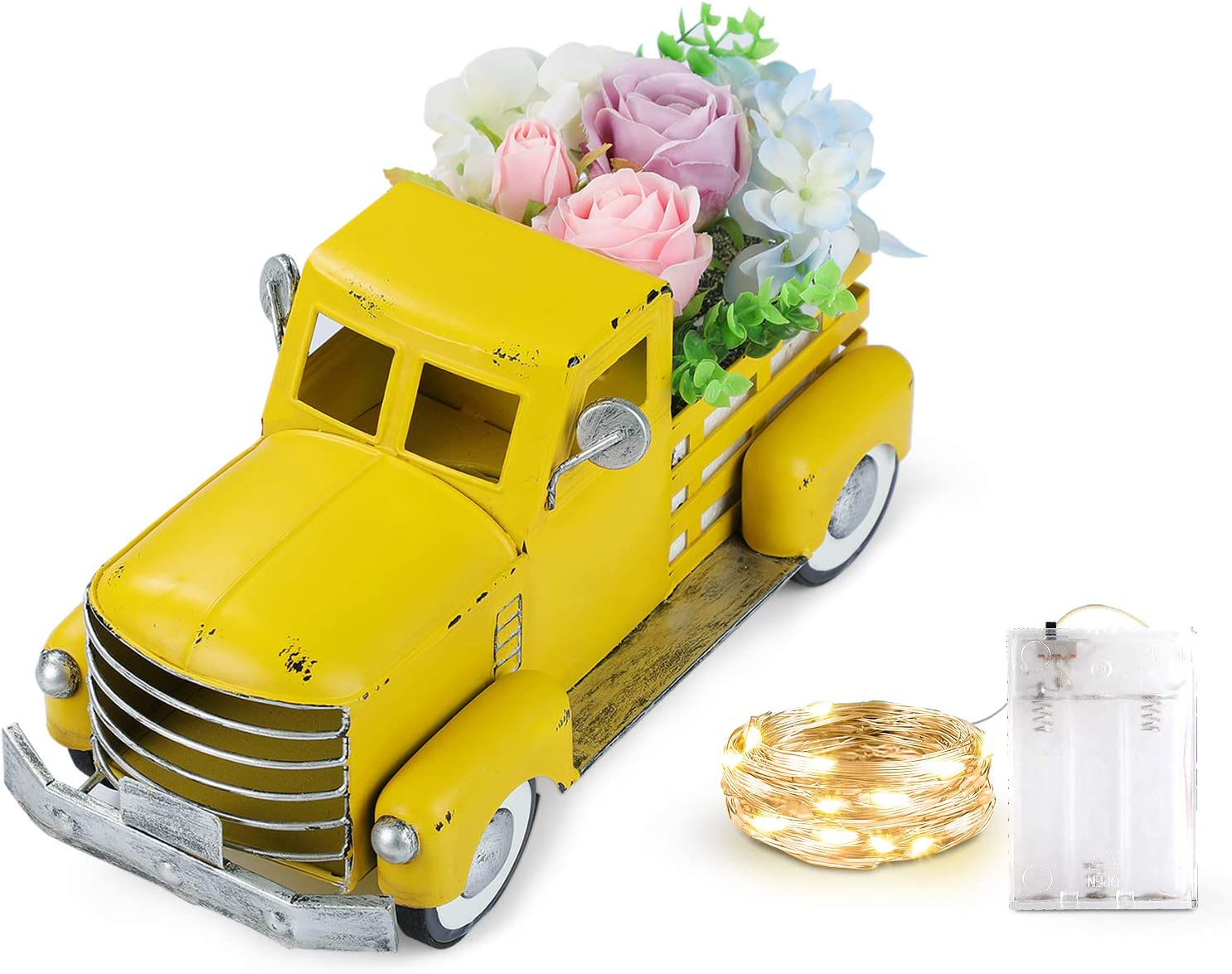 Giftchy Vintage Easter Yellow Truck Spring Decorations, Farmhouse Pick-up Metal Truck with Flowers & Fairy Lights Decorations & Decorative Dining Table Centerpiece