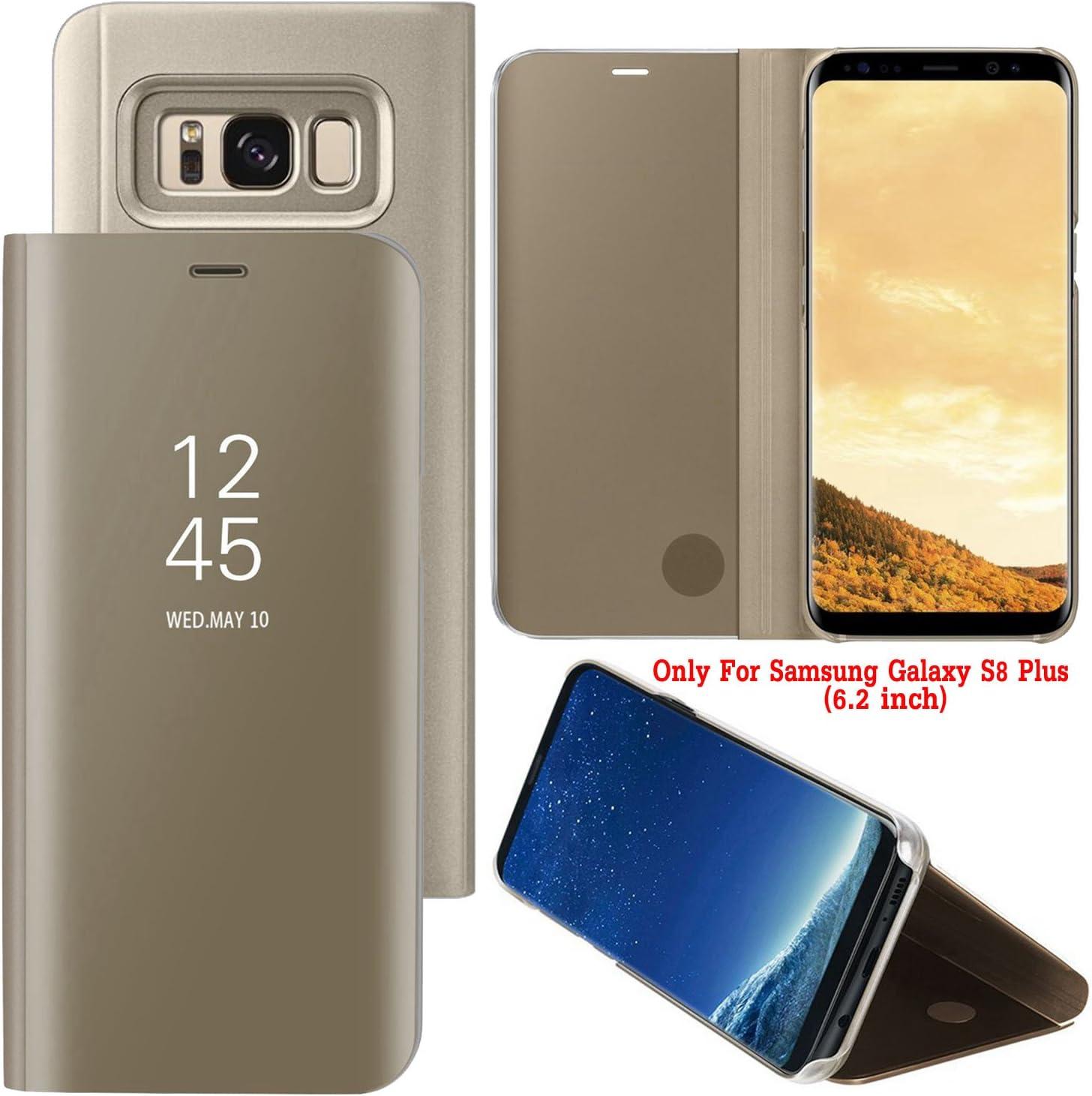Guran® Mirror Efecto Espejo Funda para Samsung Galaxy S8 Plus Clear View Función de Soporte Plegable Smartphone Funda Protectora (Golden): Amazon.es: Electrónica