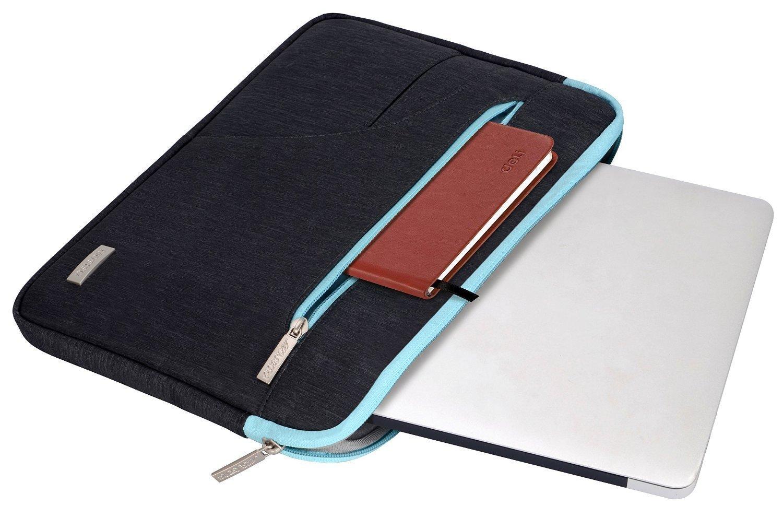 MOSISO Funda Protectora para 13-13,3 Pulgadas MacBook Air, MacBook Pro, Laptop, Notebook, Poliéster Caso Manga de la Cubierta del Bolso, Negro & Azul ...