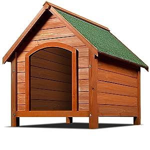 Deuba Caseta de perros de madera con tejado de asfalta a dos aguas que se abre protección casita mascota
