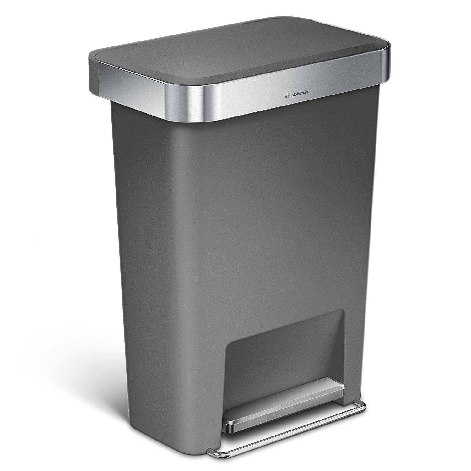 simplehuman 45 Liter / 12 Gallon Rectangular Kitchen Step Trash Can with Liner Pocket, Black Plastic with Stainless Steel Liner Rim and Step Pedal CW1385