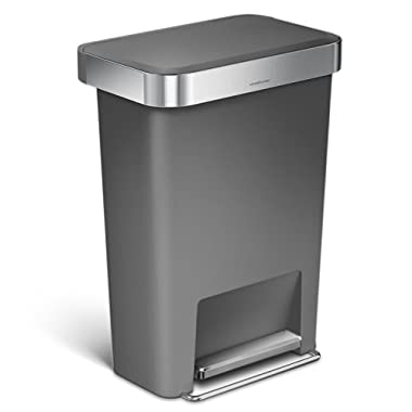 simplehuman 45 Liter / 12 Gallon Rectangular Kitchen Step Trash Can with Liner Pocket, Grey Plastic with Stainless Steel Liner Rim and Step Pedal