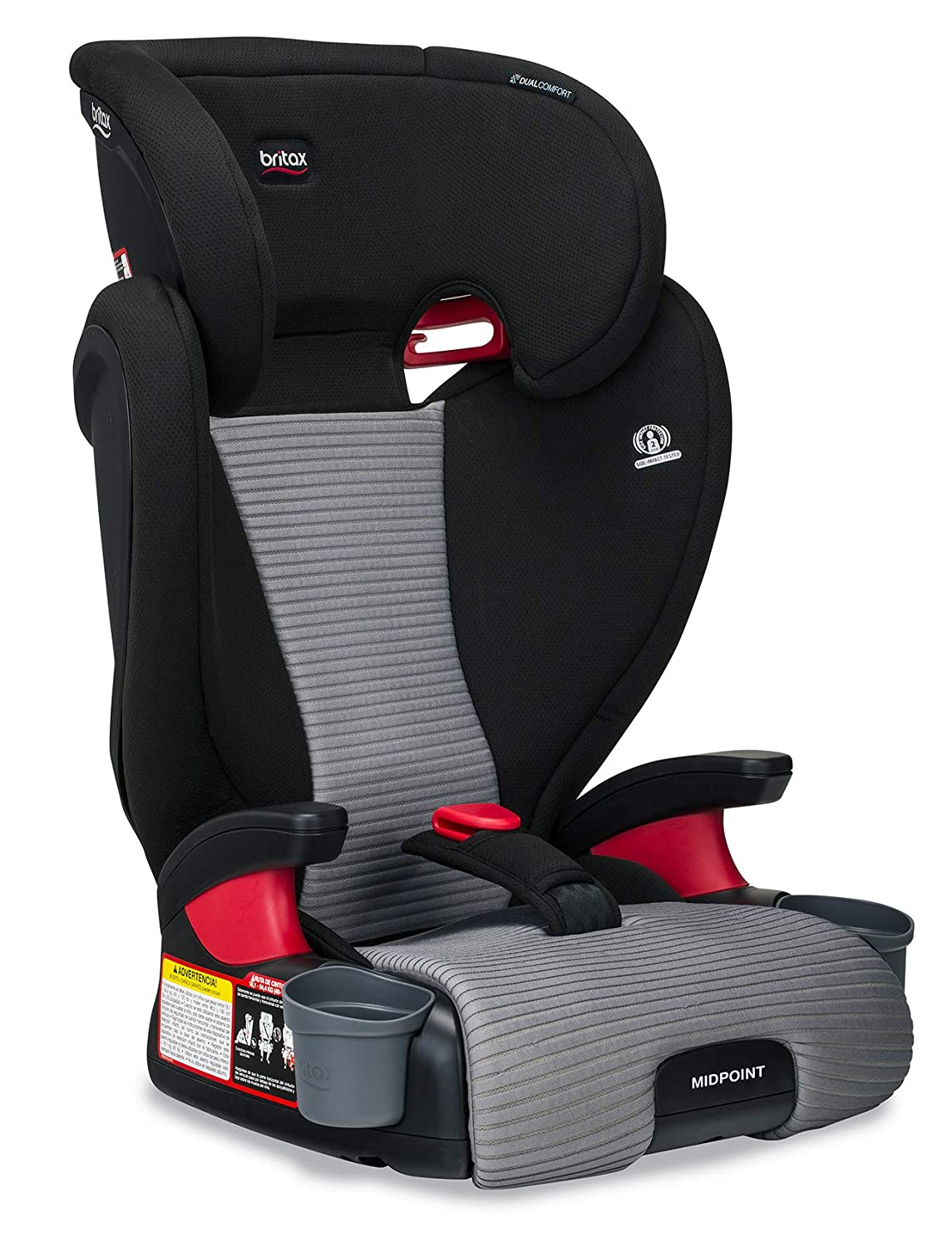 Britax Midpoint Belt-Positioning Booster Seat - 2 Layer Impact Protection - 40 zu 120 Pounds - Dualcomfort Moisture Wicking Fabric, Gray