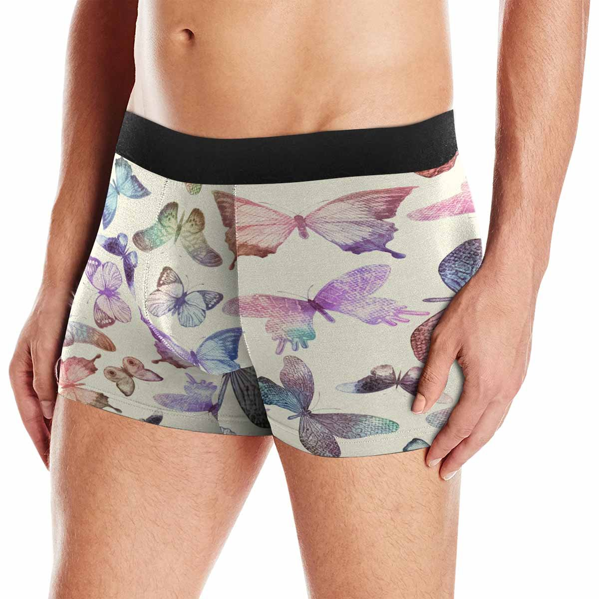 INTERESTPRINT Custom Mens Boxer Briefs Flying Butterflies Watercolor Colorful Vintage XS-3XL