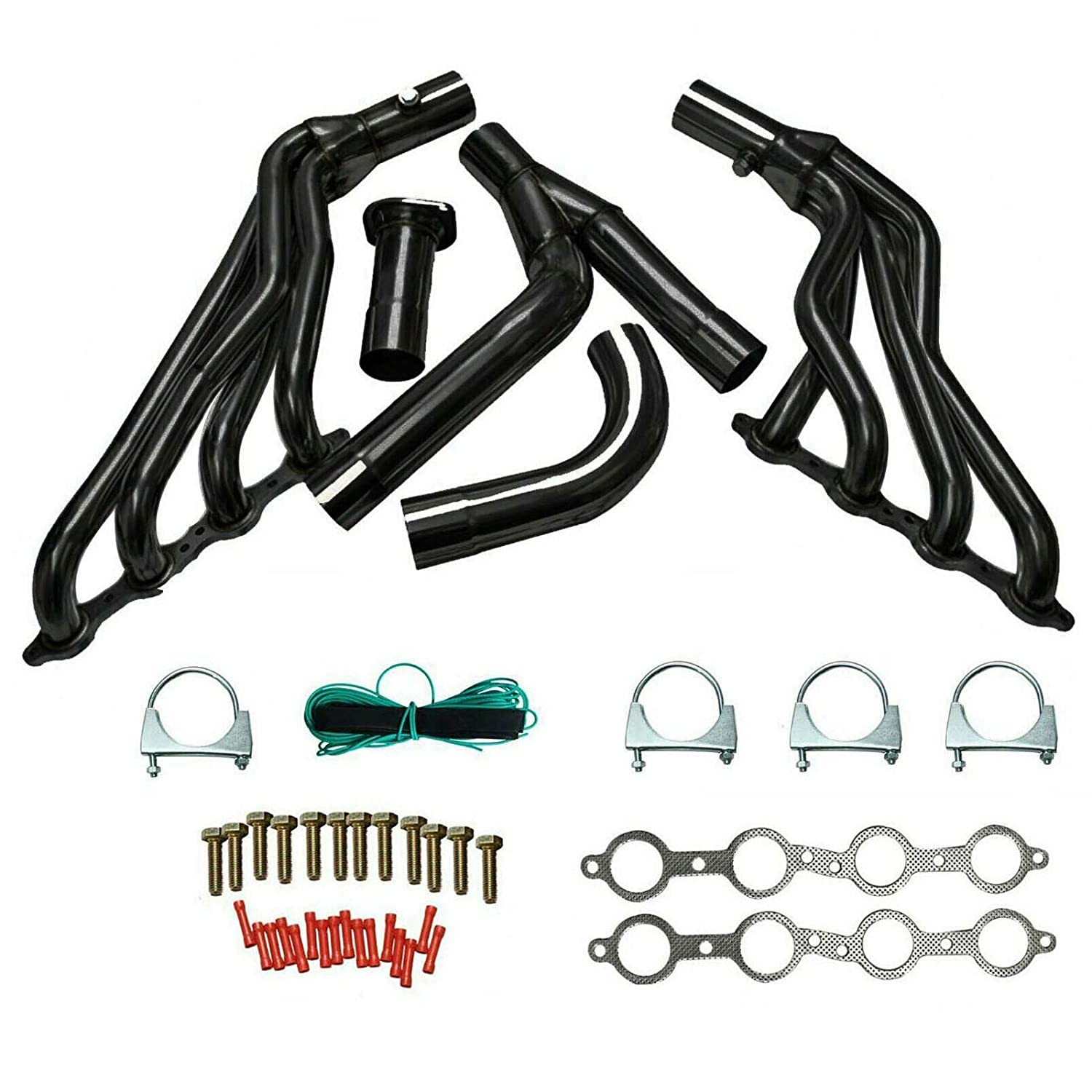 JIUAUTOPARTS Black Tube Exhaust Manifold Header /& Y-Pipe Kit Stainless Steel Fit for 1999-2006 Chevy GMC GMT800 Silverado Sierra 1500